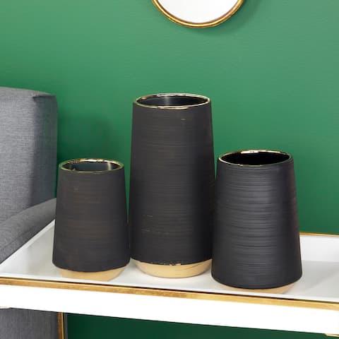 """Matte Black Porcelain Vase with Gold Rim & Ridged Texture 6"""" x 11"""""""