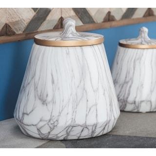 "Contemporary Gray Marble Ceramic Jar with Metallic Gold Trim 9"" x 10"""