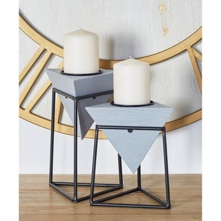 Carson Carrington Alavus Set of 2 Modern Grey Triangular Wooden Candle Holders with Stands