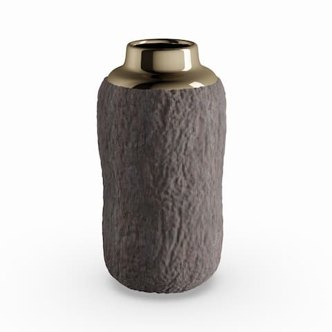Strick & Bolton Youri 10-inch Natural Tree Bark Ceramic Vase with Gold Accent