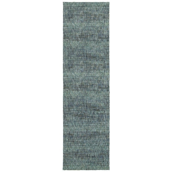 "Carson Carrington Skelleftea Tonal Textured Blue/ Grey Runner Rug - 2'3"" x 8' Runner"