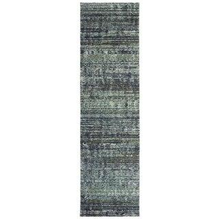 "Carson Carrington Skelleftea Tonal Textured Blue/ Grey Runner Rug - 2'3"" x 8' Runner"