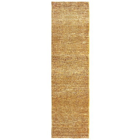 "Carson Carrington Skelleftea Tonal Textured Gold/ Yellow Runner Rug - 2'3"" x 8' Runner"