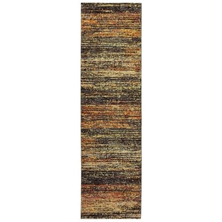 "Carson Carrington Halden Textural Stripes Gold/ Charcoal Area Rug - 2'3"" x 8' Runner"