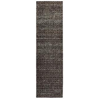 """Carson Carrington Boden Textural Diamonds Black/ Grey Area Rug - 2'6"""" x 12' Runner"""