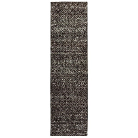 "Carson Carrington Boden Textural Diamonds Black/ Grey Area Rug - 2'6"" x 12' Runner"