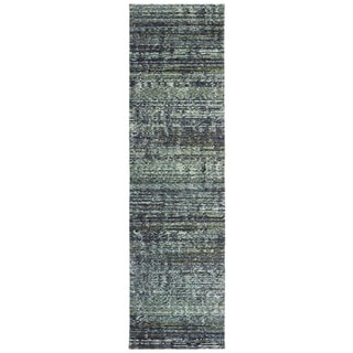 "Carson Carrington Skelleftea Tonal Textured Blue/ Grey Runner Rug - 2'6"" x 12' Runner"