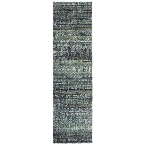 "Carson Carrington Skelleftea Tonal Textured Blue/ Grey Runner Rug - 2'6"" x 12' Runner"