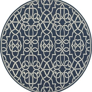 """Carson Carrington Nykoping Navy/ Ivory Indoor Outdoor Rug - 7'10"""" Round"""