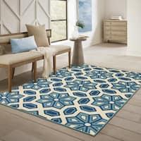 Carson Carrington Naestved Tiles Ivory/Blue Indoor-Outdoor Area Rug - 6'7 x 9'6