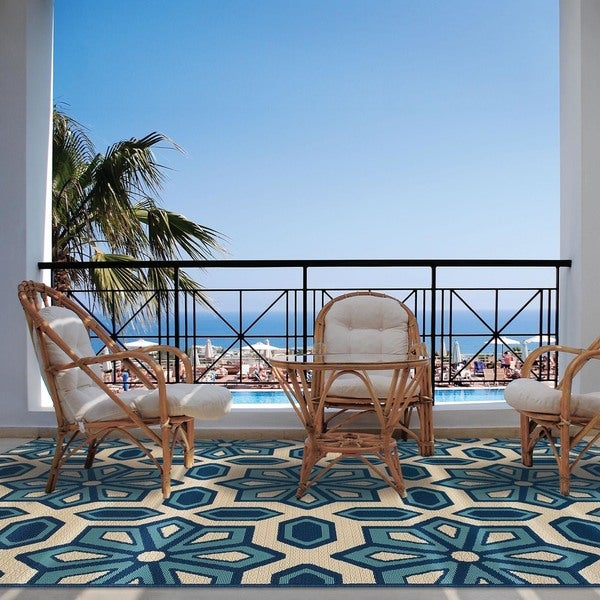 "Carson Carrington Skovde Tiles Ivory/Blue Indoor-Outdoor Area Rug - 7'10"" x 10'10"""