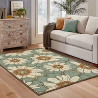 Copper Grove Boronia Blue/Brown Indoor-Outdoor Area Rug - 6'7 x 9'6