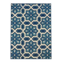 Carson Carrington Skovde Tiles Ivory/Blue Indoor-Outdoor Area Rug - 3'7 x 5'6