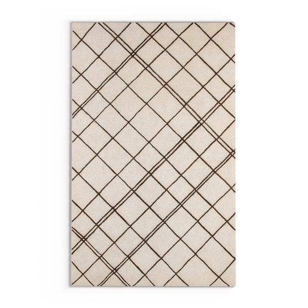 Carson Carrington Oskarshamn Hand-tufted Contemporary Beige New Zealand Wool Abstract Area Rug - 5' x 8'