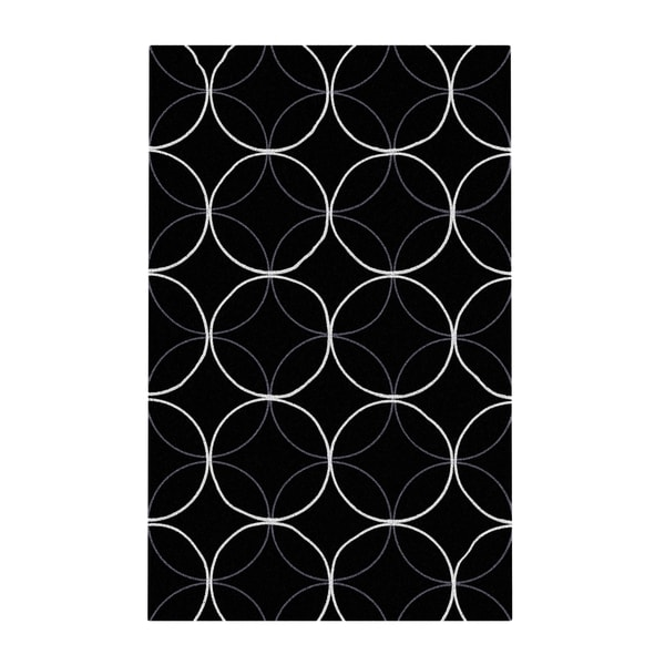 Carson Carrington Pitea Hand-tufted Contemporary Black Geometric Abstract Area Rug - 2' x 3'/Surplus