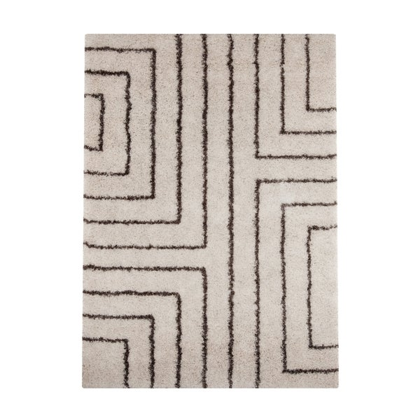 Carson Carrington Kalundborg Woven White Geometric Shag Area Rug - 5'3 x 7'6