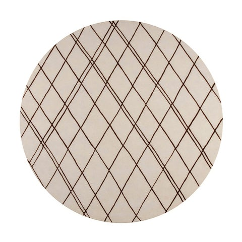 Carson Carrington Oskarshamn Hand-tufted Contemporary Beige New Zealand Wool Abstract Area Rug - 8' Round