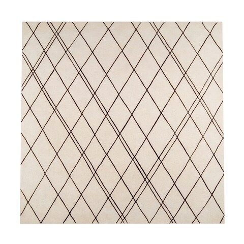 Carson Carrington Oskarshamn Hand-tufted Contemporary Beige New Zealand Wool Abstract Square Area Rug - 8' Square