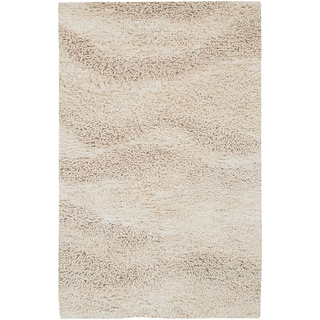 "Carson Carrington Haukipudas Hand-woven Ivory Plush Shag New Zealand Wool Area Rug - 3'6"" x 5'6"""