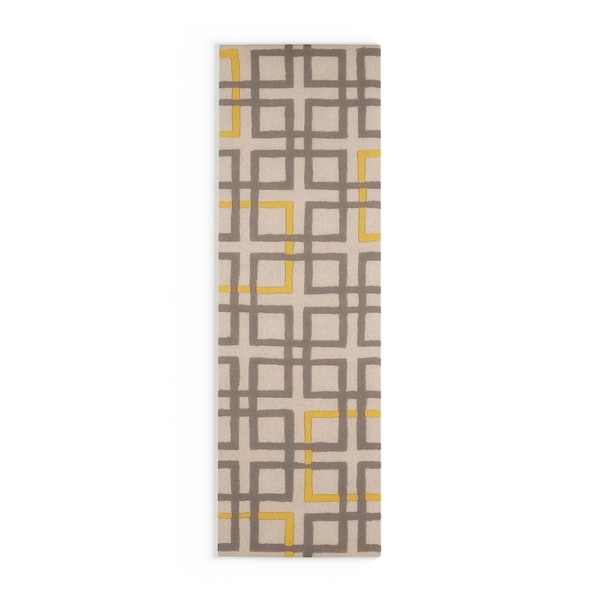 "Carson Carrington Kolding Hand-tufted Grey Geometric Squares Wool Area Rug - 2'6"" x 8' Runner"