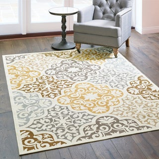 Shop Outdoor Indoor Ivory Gold Area Rug On Sale Free
