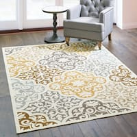 Carson Carrington Huddinge Floral Ivory/Grey Indoor-Outdoor Area Rug - multi