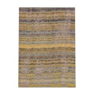 "Carson Carrington Karlskrona Distressed Ikat Yellow/ Grey Area Rug - 4' x 5'9"""