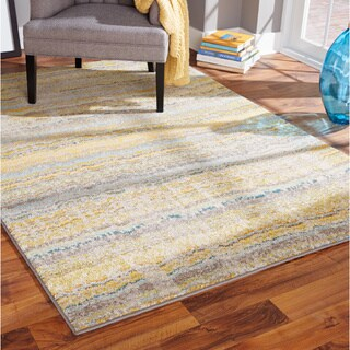 Carson Carrington Karlskrona Distressed Ikat Yellow/ Grey Rug - 7'10 x 11'