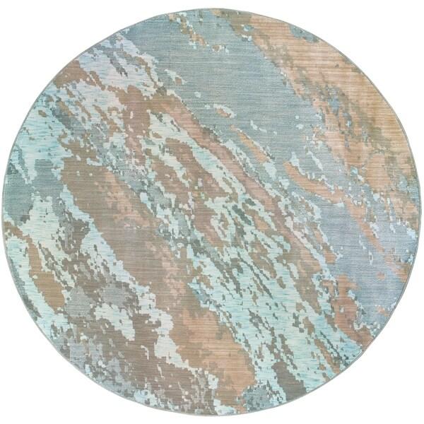 "Carson Carrington Uddevalla Abstract Marble Blue/Grey Rug - 5'3"" x 7'6"""