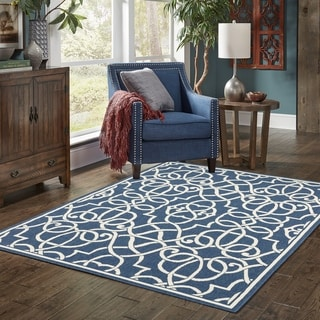 "Carson Carrington Nykoping Geometric Navy/Ivory Indoor-Outdoor Area Rug - 6'7"" x 9'6"""