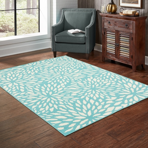 "Carson Carrington Partille Blue/Ivory Indoor-Outdoor Area Rug - 6'7"" x 9'6"""