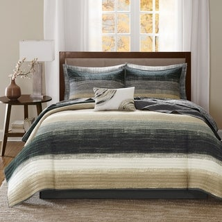 Carson Carrington Jutland Taupe Complete Coverlet and Cotton Sheet Set