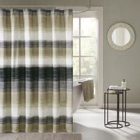 Carson Carrington Jutland Printed Taupe/ Olive Shower Curtain