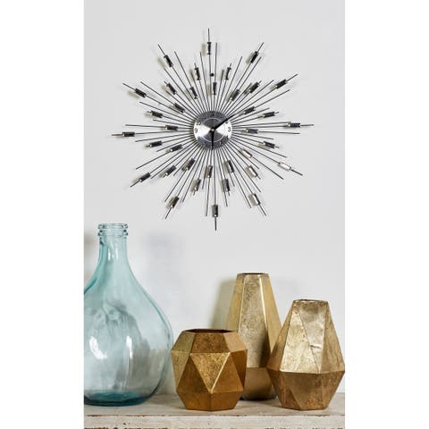 "Silver Metal Starburst Wall Clock with Faux Crystal Accents 19"" x 19"""