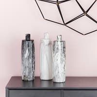 Ceramic Bottle Vases w/Black, White, Gray Marble Finishes Set of 3