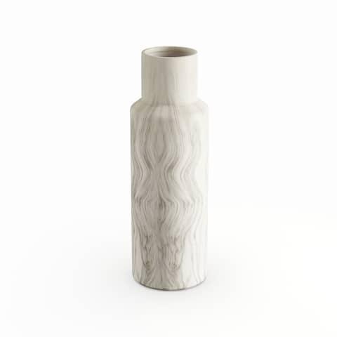 Carson Carrington Alavus Elegant Ceramic White Marble Vase