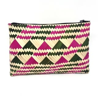 Handmade Palm Leaf Coin Purse Pink Green (Uganda)