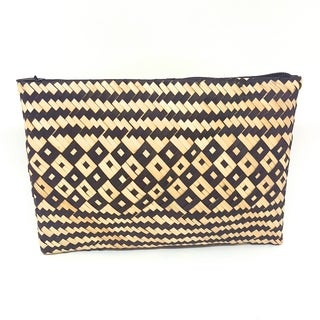 Handmade Palm Leaf Coin Purse Black White (Uganda)
