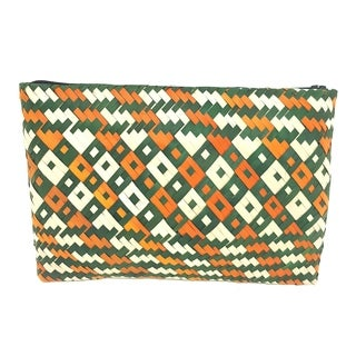 Handmade Palm Leaf Coin Purse Green Orange (Uganda)