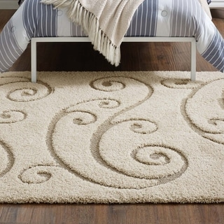 Sprout Scrolling Vine Shag Area Rug