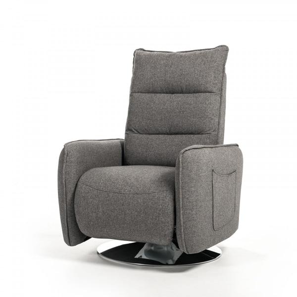Divani Casa Fairfax Grey Fabric Recliner Chair