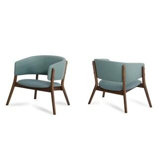 Modrest Dante Blue Fabric & Walnut Accent Chair (Set of 2)
