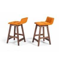 Modrest Candice Orange & Walnut Bar Stool (Set of 2)