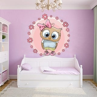 "Girl Owl Birds Kids Room Full Color Wall Decal Sticker K-1045 FRST Size 20""x20"""