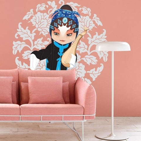 """Girl Music Living Room Full Color Wall Decal Sticker K-1050 FRST Size 30""""x30"""""""