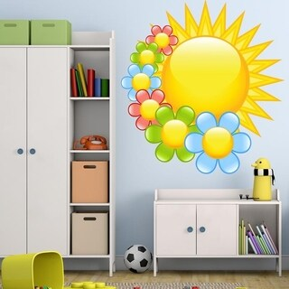 "Sun Flowers Kids Room Full Color Wall Decal Sticker K-1053 FRST Size 20""x20"""