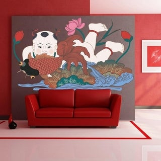 """China Catfish Flowers Full Color Wall Decal Sticker K-1061 FRST Size 40""""x63"""""""