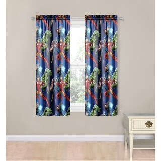 Marvel Avengers Blue Circle 4 Piece Curtain Drapes Set