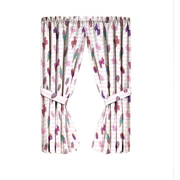 2 tiebacks NEW sweet jojo siwa sweet life pink//white curtain set 2 panels