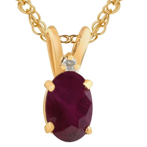 """Pompeii3 14k Yellow Gold Oval Ruby & Diamond Solitaire Pendant with 18"""" Chain"""